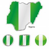 flag of Nigeria in map and web buttons shapes