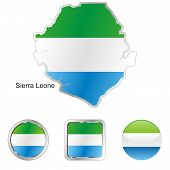 flag of Sierra Leone in map and web buttons shapes