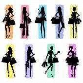 Women Shopping - silhouettes
