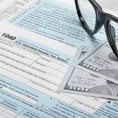 United States Of America Tax Form 1040 With Glasses