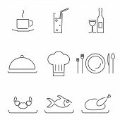 Modern Line Chef Restaurant Food Cuisine Icons and Symbols Set for Mobile Interface Isolated Vector