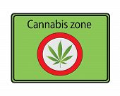 Cannabis zone sign - green