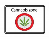 Cannabis zone sign - white