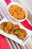 stock photo of crispy rice  - hearty meal crispy herbed chicken with java rice - JPG