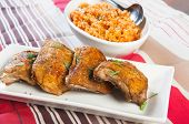 image of crispy rice  - hearty meal crispy herbed chicken with java rice - JPG