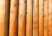 foto of stockade  - Background of log stockade covered with a varnish