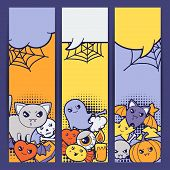 stock photo of kawaii  - Halloween kawaii vertical banners with cute doodles - JPG