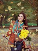 Beautiful Happy Woman With Bike