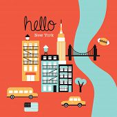Hello New York Manhattan travel illustration icons of the city retro style postcard cover design in