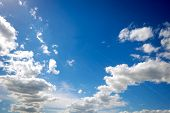 White clouds and a blue sky
