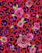 Red animal seamless pattern with roses.Raster version.