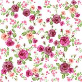 Roses seamless pattern. Floral background. Raster version.