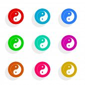 ying yang flat icon vector set