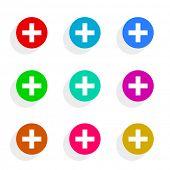 cross flat icon vector set