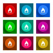 flame colorful flat icons set