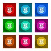 hd display colorful flat icons set