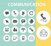 communication, web server, mail, phone black flat icons, signs, symbols set, vector