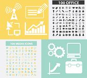 200 office, media, connection black flat icons, signs, symbols set, vector