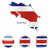 flag of Costa Rica in map and web buttons shapes