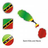 flag of Saint Kitts and Nevis in map and web buttons shapes