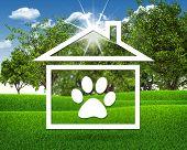 image of animal footprint  - House icon with footprint of an animal - JPG