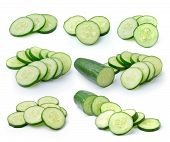 picture of cucumber slice  - Fresh cucumber slice isolated  on white background - JPG