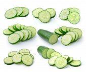 stock photo of cucumber slice  - Fresh cucumber slice isolated  on white background - JPG