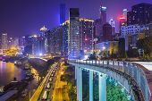 Chongqing, China night time cityscape.