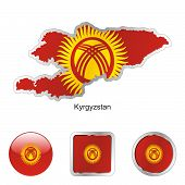 flag of Kyrgyzstan in map and internet buttons shape