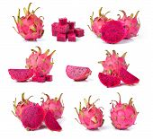 picture of dragon fruit  - Fresh dragon fruit isolated on white background - JPG