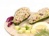 Avocado salad with tuna.