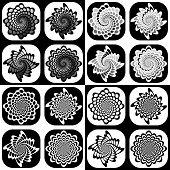 Set Of Monochrome Decorative Geometric Icons