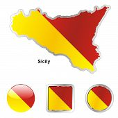 flag of Sicily in map and web buttons shapes