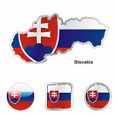 flag of Slovakia in map and web buttons shapes