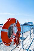 Red Lifebuoy in front of cruise ship