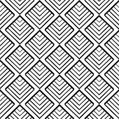 Simple geometric seamless pattern in black and white, vector