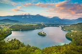 Bled Lake in Julian Alps, Slovenia.