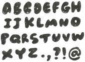 Vector hand drawn blackened alphabet