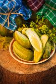 Pickled Cucumbers Plate Jars Pickles