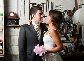 Bride And Groom In A Garage