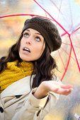 Woman Under Autumn Rain