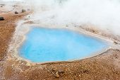 Blue pool Blesi at Haukadalur geothermal field, Iceland