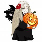 vampire girl with pumpkin