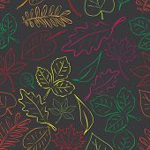 Simple Autumn Leaf Dark And Color Seamless Pattern Eps10