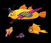 cartoon characters, dandy fish with umbrella