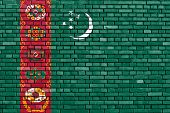 pic of turkmenistan  - flag of Turkmenistan painted on brick wall - JPG