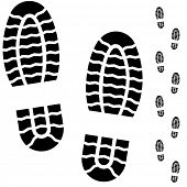 Black and white boot prints isolated on white background.