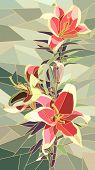 Vector Illustration Of Flowers Pink Lily.