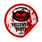 Halloween party sticker with bloody pumpkin wear headphones