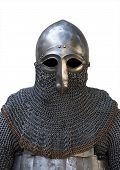 picture of knights  - old knight helmet and chain mail for protection in battle - JPG